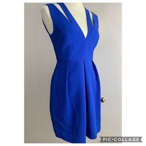BCBG Maxazria 2 blue dress cocktail pockets